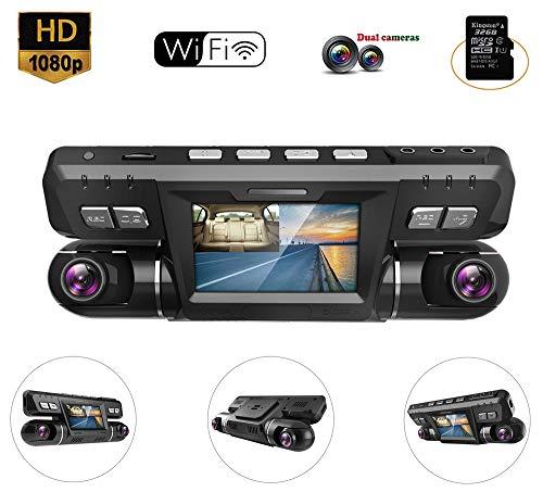 BQT Caméra de Voiture Caméra Embarquée 1080P Full HD Grand Angle 170° Polyvalent 2,7 Pouces Dashcam Enregistreur de Conduite avec Caméra avec WiFi, détection de Mouvement et capteur G,16G