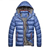 Riou Herren Steppjacke Winterjacke Männer Winter Wärme Beiläufige mit Kapuze Zip Abnehmbare Dicke Verdicken SAMT Daunenjacke Gepolsterten Baumwolle Mantel M-4XL (L, Blau)