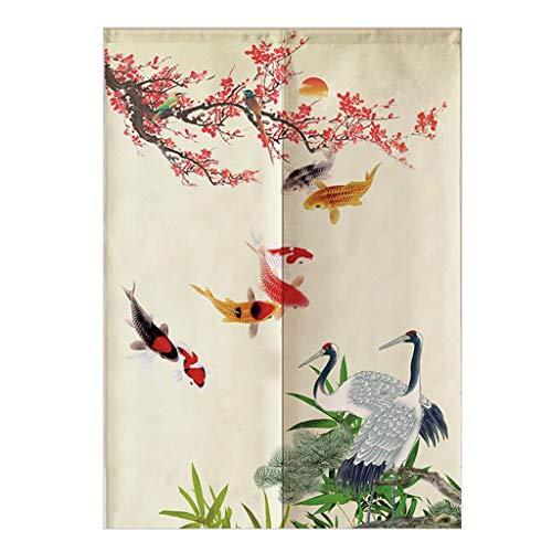 Fenteer Japanische Baumwolle Türvorhang Tür Vorhang Gardine Balkonvorhang Deko - Fische-85x150cm