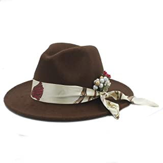 SHENTIANWEI Fashion Women Winter Wool Fedora Hat with Flower Satin Church Jazz Hat Wide Brim Cloche Hat Fascinator Size 56-58CM