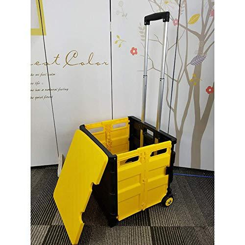 Water cup Tragbarer Einkaufswagen mit zwei Rädern, zusammenklappbarer Bollerwagen mit Deckel, Rollwagen mit Sitz, strapazierfähig, leicht, handrollende Kiste, Lebensmittelwagen für Akten/Büro