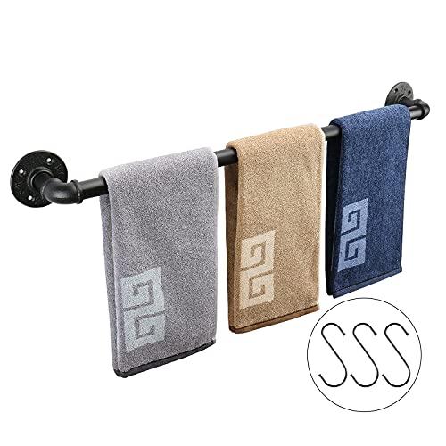 NearMoon Industrial Pipe Towel Bar, Heavy Duty Bathroom Hardware Towel Bar Accessory, Wall Mounted DIY Rustic Iron Bathroom Towel Rack Holder (Black, 28 Inch)