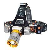 AJH Faros Delanteros 4000 Lumen T6 LED Faro de Buceo Impermeable 5 Modos Linterna Frontal de Buceo Linterna Frontal de Caza subacuática Lámpara de antorcha