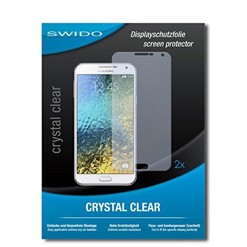SWIDO Schutzfolie für Samsung Galaxy E7 [2 Stück] Kristall-Klar, Hoher Festigkeitgrad, Schutz vor Öl, Staub & Kratzer/Glasfolie, Bildschirmschutz, Bildschirmschutzfolie, Panzerglas-Folie
