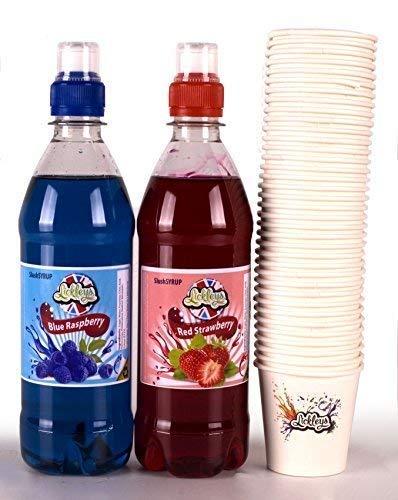 Doppelpack von 500ml SLUSH Sirup konzentrate Blaue Himbeere und rot Erdbeeren Enthält 50 x Gratis Schnee Konus Tassen für daheim Hersteller, zerdrückt ice, partys, wie WELPE, SLURPEE, ICEE Getränke
