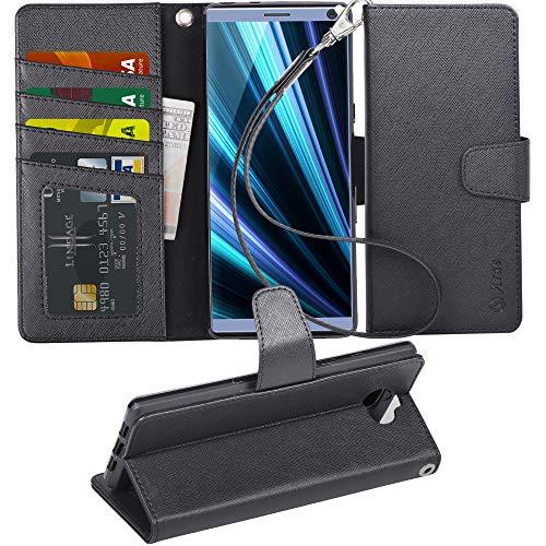 Arae Sony Xperia 10 Hülle, Handyhülle Sony Xperia 10 Tasche Leder Flip Cover Brieftasche Etui Schutzhülle für Sony Xperia 10 - Schwarz