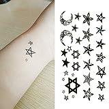 Oottati Small Cute Temporary Tattoo Star Moon Totem (2 Sheets)