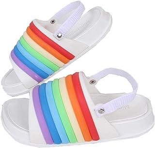 46c7194f91ce AGOWOO Kids Boys Girls Sandals Cute Colorful Rainbow Flat Slides