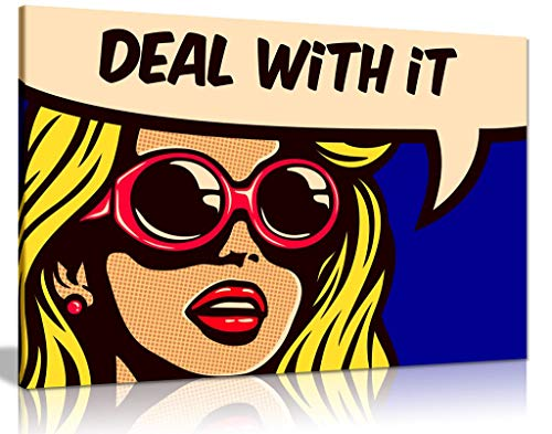 Modern Pop Art Girl Deal With It Canvas Wall Art Picture Print For Home Decor (36x24)