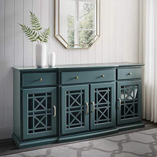 Walker Edison Modern Wood Glass-Buffet-Sideboard Living Entryway Serving Storage Cabinet Doors-Dining Room Console, 60 Inch, Dark Teal (AZU60LANFWDT)