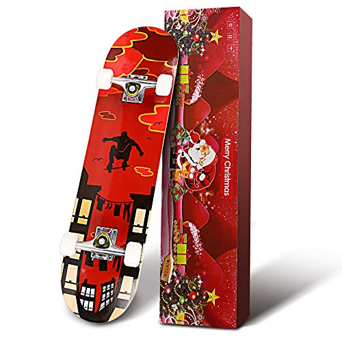 """Hikole Skateboard - 31"""" x 8"""" Complete PRO Skateboard - Double Kick 7 Layer Canadian Maple Wood Adult Tricks Skate Board for Beginner, Birthday Gift for Kids Boys Girls 5 Up Years Old (2:GF)"""
