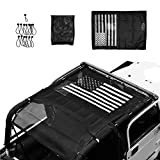 Micephon Top Roof Mesh Sunshade Net for Jeep Wrangler TJ Bikini Safari Rubicon with US Flag(1996-2007)