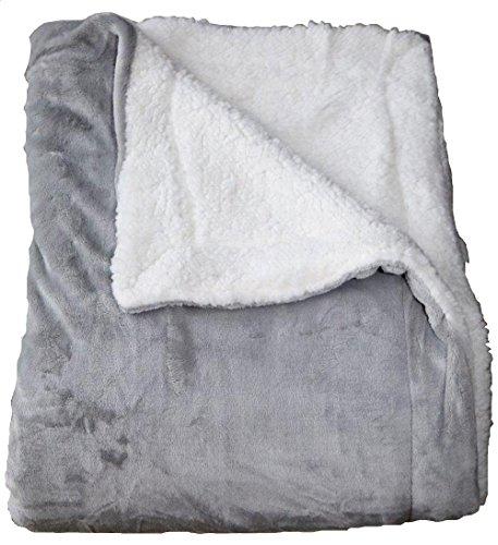 Comptoir du linge Plaid Microfibre Grand Uni et Faux Mouton Gris Pastel, 200x150 cm