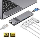 dodocool Hub USB C 4K HDMI, Rj45 Gigabit Ethernet, 100W PD,SD/TF Lector de Tarjetas, 2 USB 3.0, USB 2.0, Thunderbolt 3 Adaptador USB C para Macbook Pro 2019/2018/2017/2016/Macbook Air 2019/2018