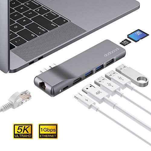 dodocool Hub USB C 4K HDMI, Rj45 Gigabit Ethernet, 100W PD,SD/TF Lector de Tarjetas, 2 USB 3.0, USB 2.0, Thunderbolt 3 Adaptador USB C para Macbook Pro 2019/2018/2017/2016/Macbook Air 2019/2018