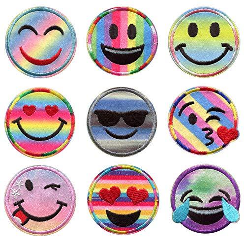 Aufnäher Emoji Patches zum Aufbügeln Glitzer – 6.3 cm – Smiley Patch Sticker Aufkleber Kleidung Emoji Kissen Bügelbild Emoticon Bügelflicken Kinder Flicken Applikationen DIY T-Shirt Jeans Taschen