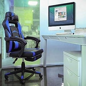 FIXKIT- Gaming Chair Silla de Oficina Gaming con Reposapiés Plegable, Reposabrazos, Almohada, Silla Giratoria Ergonómica para PC Ajustable en Altura, Silla Ejecutiva y de Competición, Azul