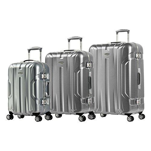 Eminent Koffer-Set Gold X-Dream 3-teilig (1 x Handgepäck S & 2 x Reisekoffer M+L) Aluminiumrahmen Hartschalenkoffer 4 leise Doppelrollen TSA Schloss Silber