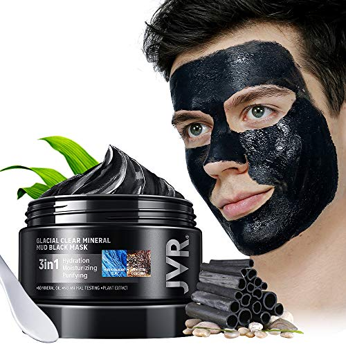Mud Mask, JVR Glacial Clay Mask with the Charcoal Face Mask Blackhead Remover, Deep Pore Cleanser, Moisturizing & Anti Aging, Mineral Rich Manicouagan Glacial Clay Mask for All Skin Types