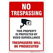 Video Surveillance No Trespassing Sign, CCTV Security Camera, 10x14 Heavy 0.40 Aluminum, UV Protected, Weather/Fade Resistant, Easy Mounting, Indoor/Outdoor Use, Made in USA by Sigo Signs