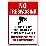 Sigo Signs Video Surveillance No Trespassing Sign, CCTV Security Camera, 10x7 Heavy 0.40 Aluminum, UV Protected, Weather/Fade Resistant, Easy Mounting, Indoor/Outdoor Use, (10x14, 1) indoor surveillance cameras Mar, 2021
