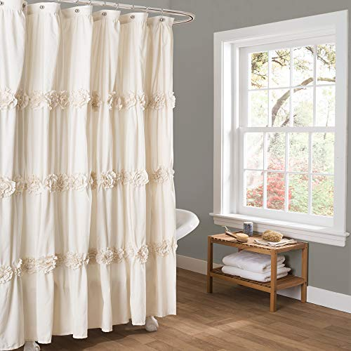 Lush Décor C12857P13-000 Ivory Darla Ruched Floral Bathroom Shower Curtain, x 72