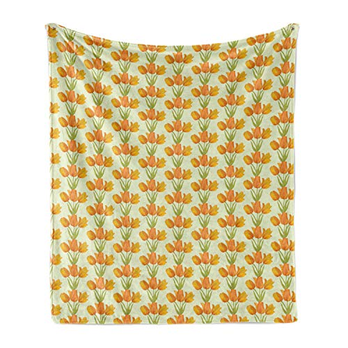 Lunarable Tulip Soft Flannel Fleece Throw Blanket, Romantic Bouquet Tile Shape with Tulip Garden Field Garland Iteration, Cozy Plush for Indoor and Outdoor Use, 70' x 90', Orange Green Pale Green