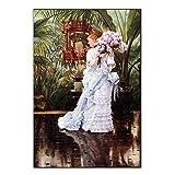 Citon James Tissot 《The Bunch of Lilacs, 1875》 óLeo Pintura Obra De Arte Cuadros Vintage PóSter Lienzo Pared Arte Cuadro para Sala Decoracion 60x80cm Cuadros Decoracion Salon Sin Marco