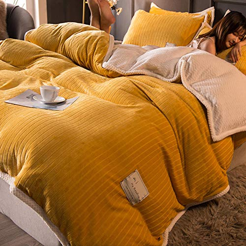 Shinon double bedding duvet set pink,Thickened warm winter double-sided French down duvet cover bed sheet bed sheet pillowcase bedding kit-L_2.0m bed (4 pieces)