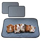 bfuee Guinea Pig Cage Liners,Anti Slip Guinea Pig Bed&Waterproof Reusable,2 Pack Super Absorbent Guinea Pig Pee Pad for Small Animals,Washable(Size 23.6'x17.7')