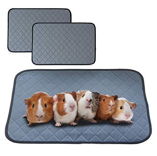 """bfuee Guinea Pig Cage Liners,Anti Slip Guinea Pig Bed&Waterproof Reusable,2 Pack Super Absorbent Guinea Pig Pee Pad for Small Animals,Washable(Size 23.6""""x17.7"""")"""