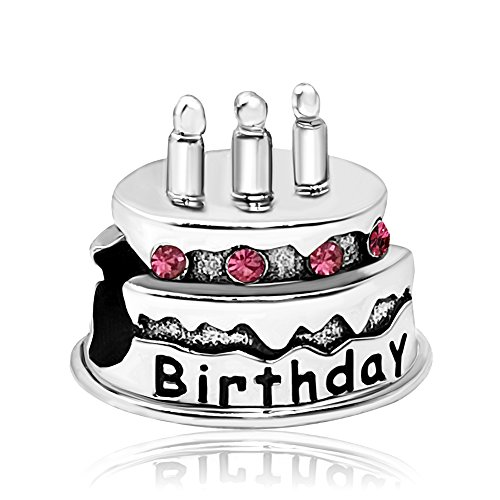 JMQJewelry Happy Birthday Cake Birthstone October Pink Bead Charm For Bracelets Valentines Grandmadaughter Gifts