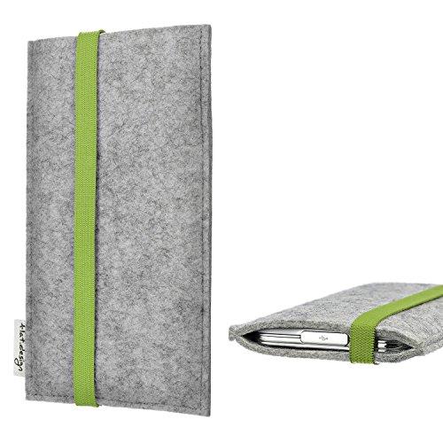 flat.design Handy Hülle Coimbra für Shift Shift6m maßgefertigte Handytasche Filz Tasche fair grün hellgrau