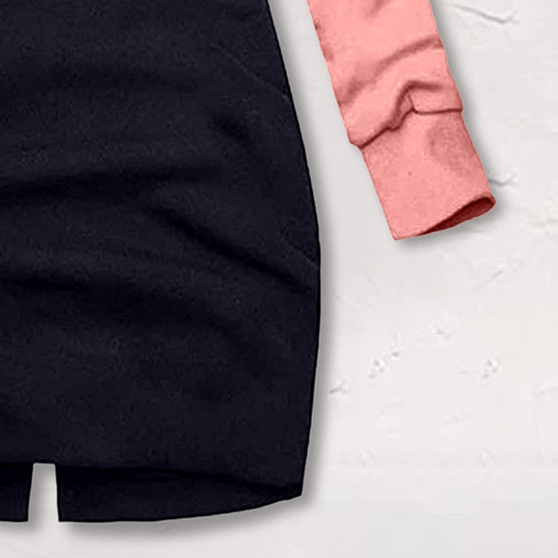 Xinantime Women's Elegant Pullover Sweatshirt Christmas Print Hooded Color Block Coats Ladies Oversized Tunic Jumper