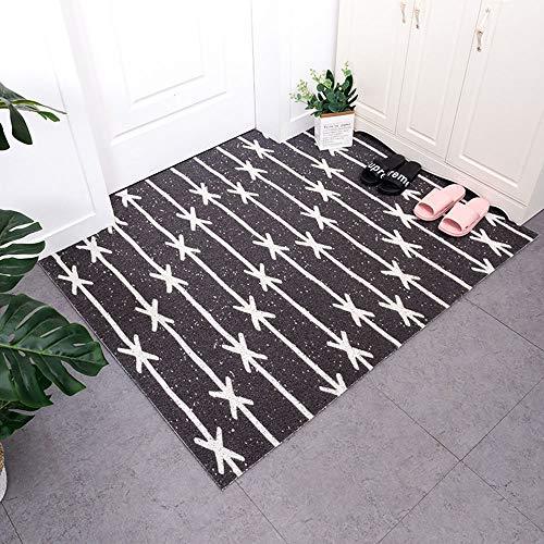 Stella Fella Simple Lines - Alfombrilla antideslizante de PVC, se puede lavar fácilmente con anillo de seda elástico estilo nórdico para el hogar, para interiores y exteriores (tamaño: 60 x 90 cm)
