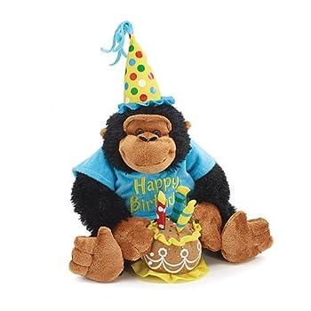 Happy Birthday 12  Plush Monkey with Birthday Cake Plays Happy Birthday Song