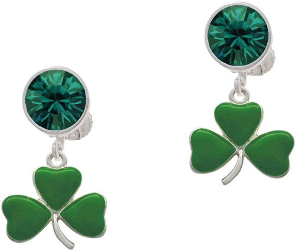 Silvertone Green Three Special price for a limited time Leaf Clover Crystal Cl Tampa Mall Shamrock -