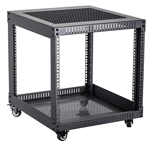 Kenuco 9U Standing Open Frame Rack with 4 Wheels and 4 Legs...