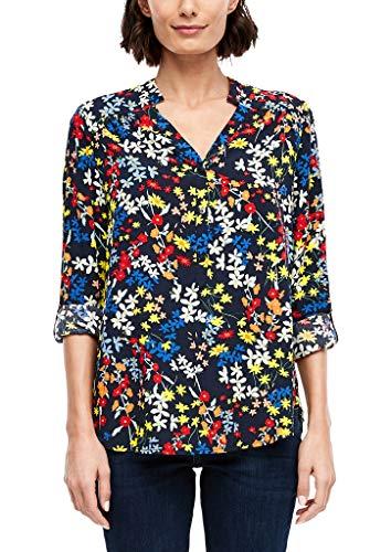 s.Oliver Damen Bluse mit floralem Muster Dark Blue AOP 46