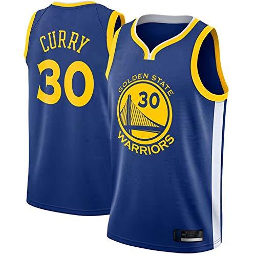 LMSNB 2019/20 Saison Trikot Golden State Warriors Stephen Curry #30 Blau Stickerei Basketball Jersey Ärmellose Weste Auswärts Jersey Atmungsaktives Stoff Swingman Jersey