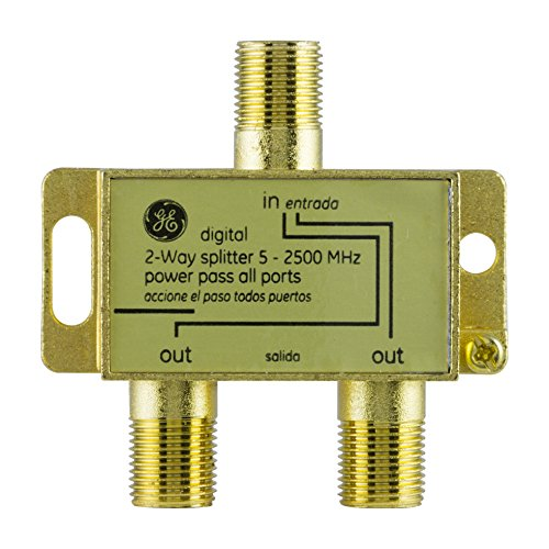 GE Digital 2-Way Coaxial Cable Splitter, 2.5 GHz 5-2500 MHz, RG6 Compatible,...