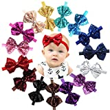 15pcs Baby Girl Headbands Sparkly Glitter Sequins 4' Big Hair Bows Ribbon Soft Stretchy Hair Bands for Infant Newborn and Toddlers