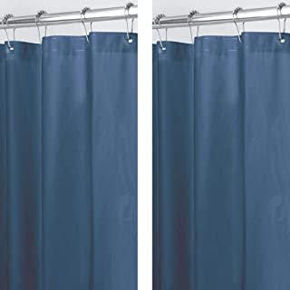 mDesign Plastic, Waterproof, Mold/Mildew Resistant, Heavy Duty PEVA Shower Curtain Liner for Bathroom Showers and Bathtubs - No Odor - 3 Gauge, 72 inches x 72 inches - 2 Pack - Navy