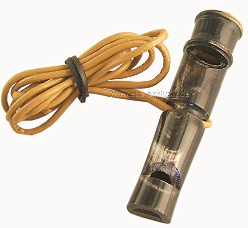 Unbekannt Hundepfeife Büffelhorn 8cm, mit Pfeifenband