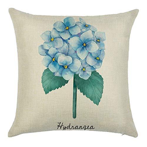 AtHomeShop 40 x 40 cm, funda de cojín en lino con estampado de hortensia, suave, cómoda, funda de cojín cuadrada para sofá, dormitorio, oficina, coche, decoración, beige, azul, verde, estilo 5