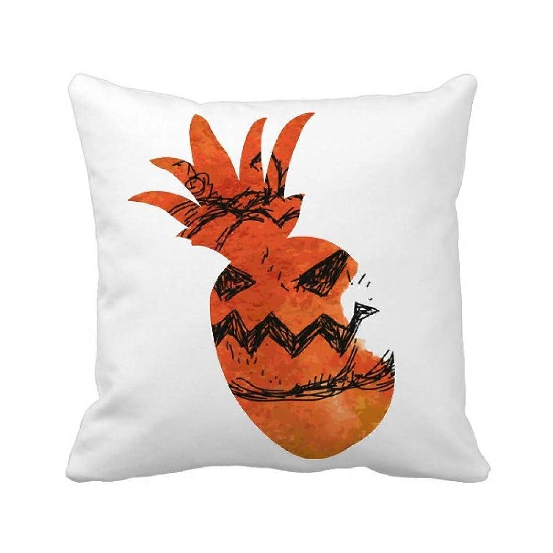 より良い巻き戻す才能のあるハロウィンのカボチャを手塗り パイナップル枕カバー正方形を投げる 50cm x 50cm