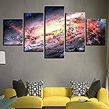 DBFHC Art Cuadros En Lienzo Nebulosa del Espacio Exterior del Universo Decoracion De Pared 5 Piezas Modernos Mural Fotos para Salon Dormitori Baño Comedor 150X100Cm