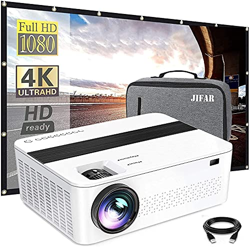"""Native 1080p Projector with a Bag,9000 Lux 4k Projector for Outdoor Movies with 450"""" Display,Support Dolby & Zoom,Compatible with TV Stick,HDMI,VGA.USB,Smartphone,PC (White)"""