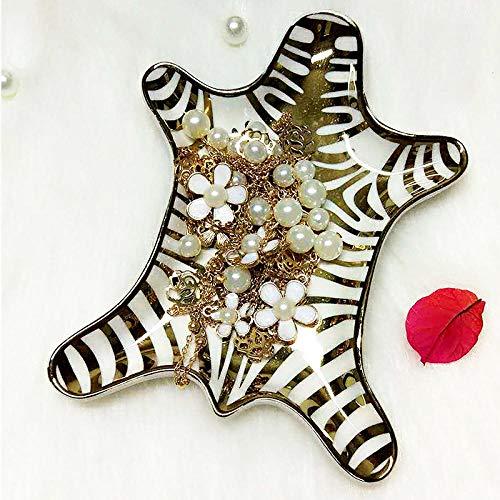 Handbemalte goldene Tigerfarbe Keramikplatte Dekoration Zebraplatte kleiner Schmuckständer Ring Armband Ohrring Tablett-Schlamm