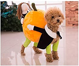 Funny Dog Clothes for Small Dogs, Carrying Pumpkin Halloween Christmas Gift Fancy Jumpsuit Puppy Costume, with Cuddly Soft Plush Better to Keep Warm in Winter, for Pet Dogs, Cats.